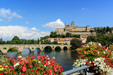 Beziers Cathedral Saint-Nazaire and Pont Vieux languedoc France