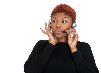 Serious female customer service representative on phone