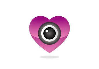 heart cam monitor vector logo