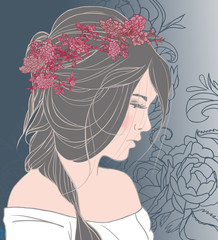 Illustration of virgo zodiac sign as a beautiful girl