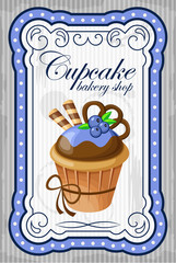 Vintage cupcake poster. vector illustration