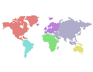 Dotted Map of the World Continents Colorsl