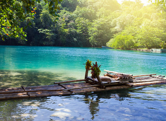 Raft on the bank of the Blue lagoon, Jamaica..