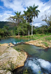 The river with stages in park of Soroa. Cuba.