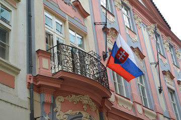 National flag of the Slovak republic on the building of Embassy