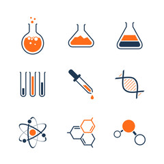 Chemistry simple vector icon set