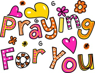 Praying for You Cartoon Text Expression