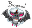 Bat halloween hat on a white background. Vector illustration.