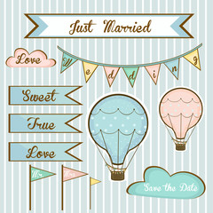 set of wedding invitations for members with balloons
