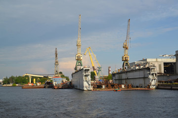 St. Petersburg. Dry dock of shipbuilding plant