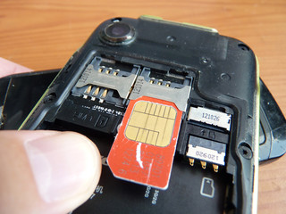 Change of a sim card in the cell phone