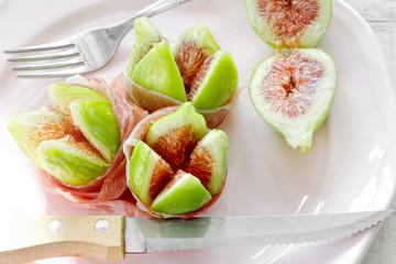 ripe figs with Parma ham