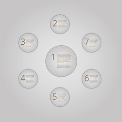 Infographics with numbers and text. seven circles for presenting
