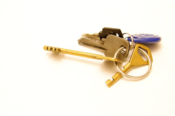 Bunch of keys isolated on the white background