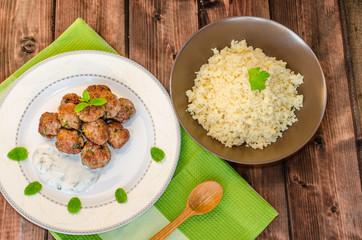 Beef meatballs with cilantro