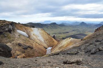 Исландия, Ландманналёйгар, риолитовые горы