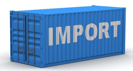 Импорт (import). Надпись на грузовом контейнере