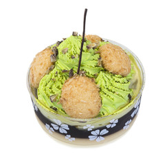 Green tea pudding.