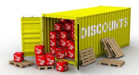 Грузовой контейнер заполненный 60% скидками