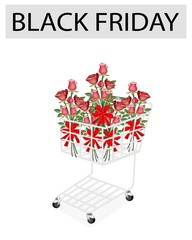 Rose Bouquets with Ribbon in Black Friday Shopping Cart