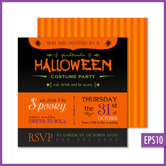 Halloween Invitation Black Orange