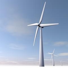 Windmolen, blauwe lucht, groen energie
