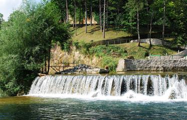 River Cascade Near Jajce Waterfall