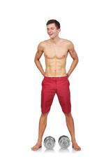 bodybuilder standing with dumbbell