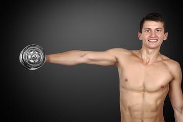 guy holding dumbbells