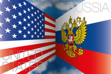 usa vs russia flags