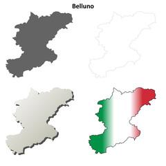 Belluno blank detailed outline map set