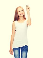 girl in blank white shirt drawing something