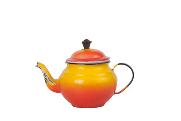 old dirty enamel teapot isolated on white background