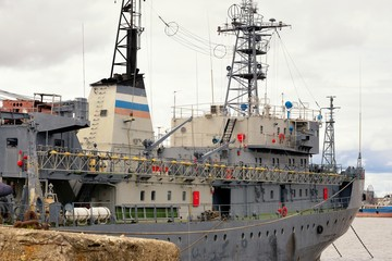 Front view of moored big ship in Russia