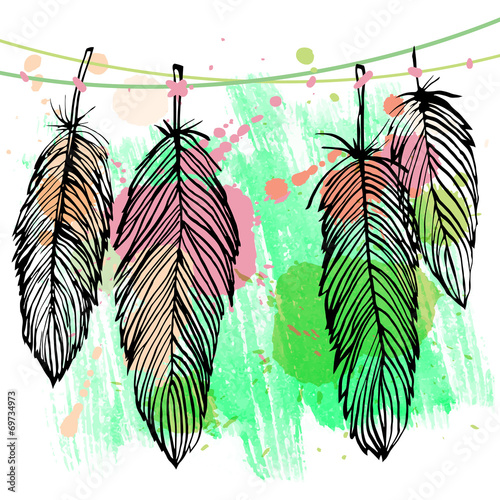 Colorful watercolor feather set - 69734973