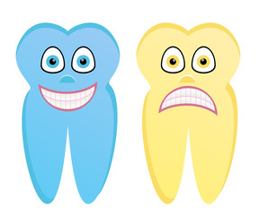 Vector cartoon illustration of healthy tooth and rotten tooth