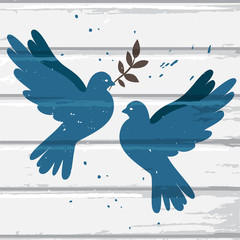 Two blue doves