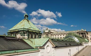Schmetterlinghaus roof and Neue Burg facade in Vienna