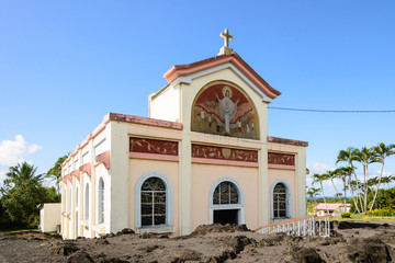 "Church ""Notre dame des laves"" in Piton Sainte Rose with dry lava"