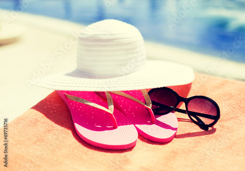 canvas print picture close up of summer accessories