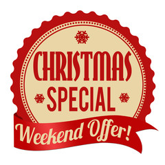 Christmas special, weekend offer label or stamp