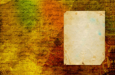 Grunge abstract paper background with old photo and handwrite te