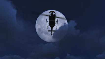Helicopter flying at night with a full moon background