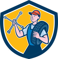 Mechanic With Tire Wrench Shield Cartoon