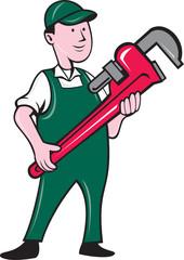 Plumber Holding Monkey Wrench Cartoon
