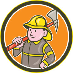 Fireman Firefighter Axe Circle Cartoon