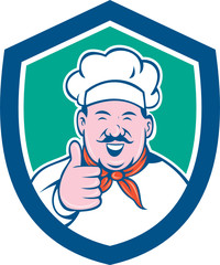 Chef Cook Happy Thumbs Up Shield Cartoon