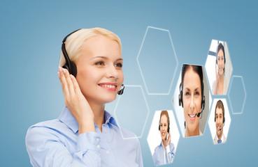 smiling woman helpline operator