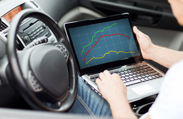 close up of man using laptop computer in car