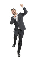 businessman jumping and laughing